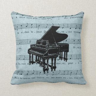 Grand Piano Blue Sheet Music Cushion