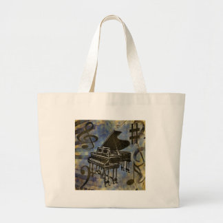 Grand Piano Collage Large Tote Bag