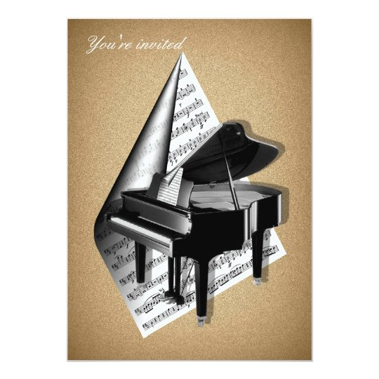 Grand piano Invitation Cards
