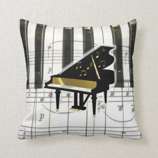 Grand Piano Keyboard and Notes Cushion