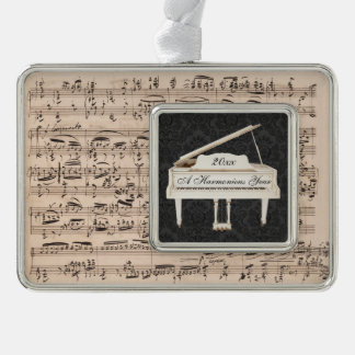 Grand Piano New Year Music Manuscript Customized Silver Plated Framed Ornament