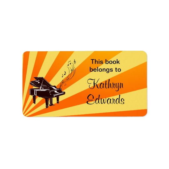 Grand Piano Notes Yellow and Gold Bookplate Address Label