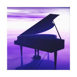 Grand Piano Ocean Beach Music Wrapped Canvas