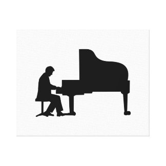 Grand piano pianist stretched canvas prints