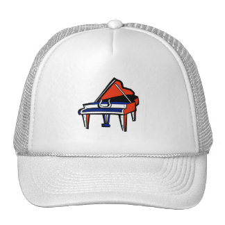 Grand Piano Red White Blue Graphic Image Hat
