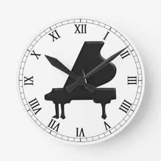 Grand Piano Round Clock