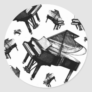 Grand Piano Round Sticker