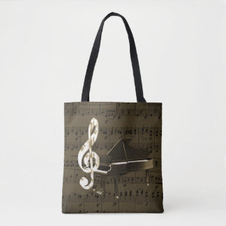 Grand Piano Treble Clef Bronze Sheet Music Tote Bag