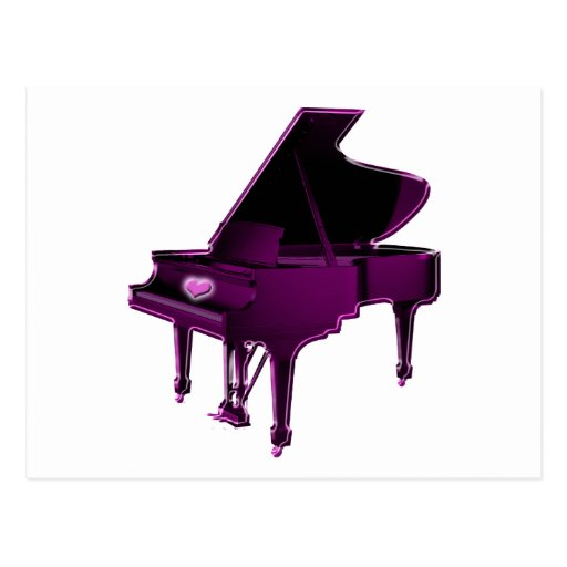 Grand Piano With Heart Postcard
