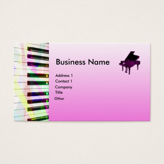 Grand Piano With Keyboard in Pink Business Card
