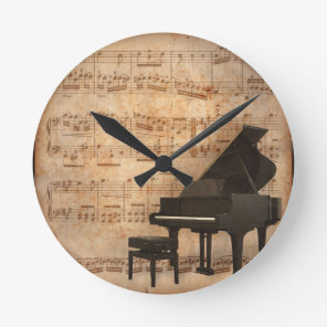Grand Piano with Music Notes Round Clock