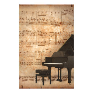 Grand Piano with Music Notes Stationery Design