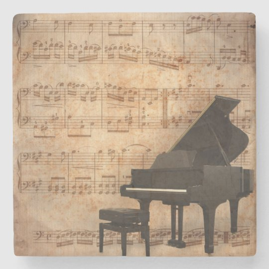 Grand Piano with Sheet Music Stone Coaster