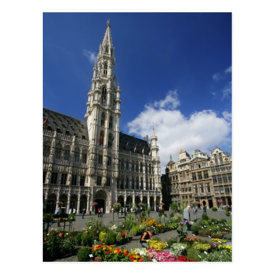 grand place, brussels belgium postcard