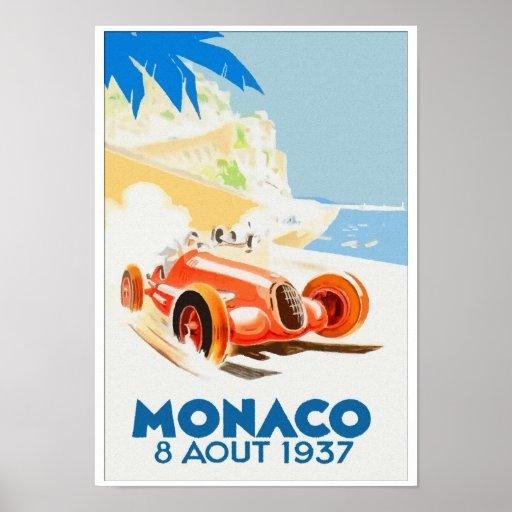 Grand Prix Monaco 1937 aquarelle Poster