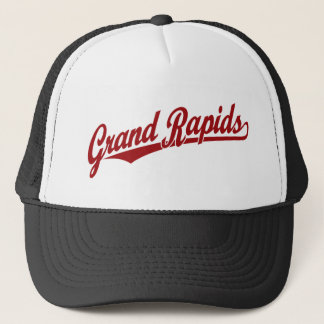 Grand Rapids script logo in red Trucker Hat