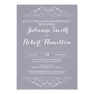 Grand Soiree | Lilac Gray Engagement Party Invites