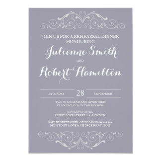 Grand Soiree | Lilac Gray Rehearsal Dinner Invites