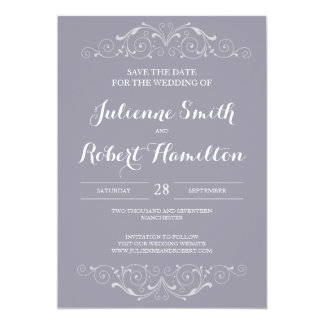 Grand Soiree | Lilac Gray Save the Date Card 13 Cm X 18 Cm Invitation Card