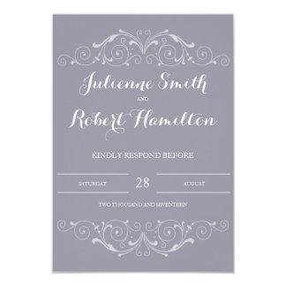 Grand Soiree | Lilac Gray Wedding RSVP Card