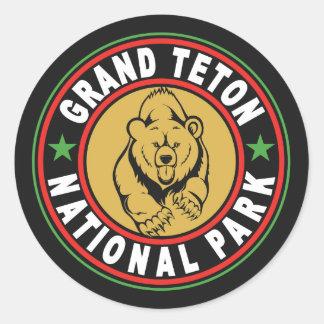 Grand Teton Black Circle Round Sticker