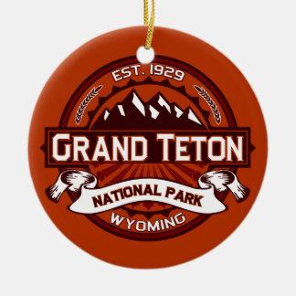 Grand Teton Crimson Round Ceramic Decoration