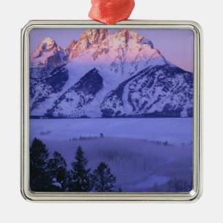 GRAND TETON NATIONAL PARK, WYOMING. USA. Fog & Silver-Colored Square Decoration