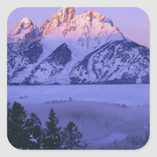 GRAND TETON NATIONAL PARK, WYOMING. USA. Fog & Square Sticker