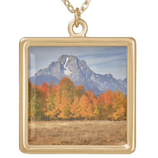 Grand Teton NP, Mount Moran and aspen trees Gold Plated Necklace