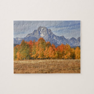 Grand Teton NP, Mount Moran and aspen trees Jigsaw Puzzle