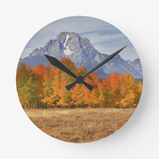 Grand Teton NP, Mount Moran and aspen trees Round Clock