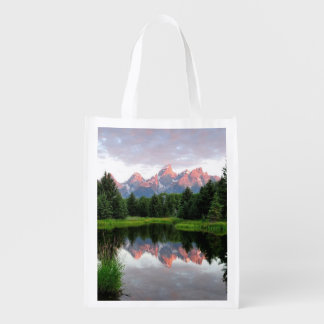 Grand Teton Reflections Over the Beaver Pond Reusable Grocery Bag
