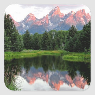Grand Teton Reflections Over the Beaver Pond Square Sticker