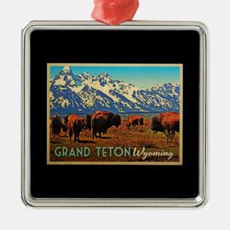 Grand Teton Wyoming Buffalo Christmas Ornament