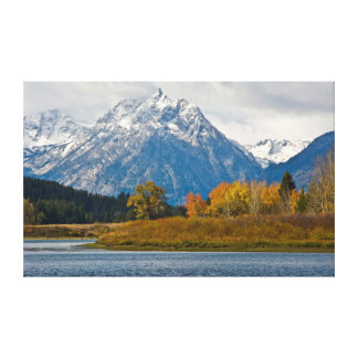 Grand Tetons, from the Oxbow, autumn Canvas Print