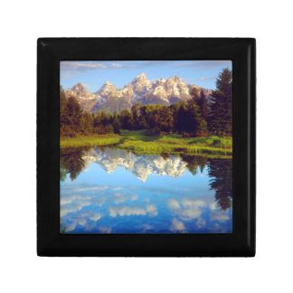 Grand Tetons reflecting in the Snake River Small Square Gift Box