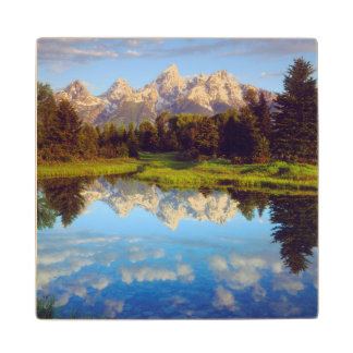 Grand Tetons reflecting in the Snake River Wood Coaster