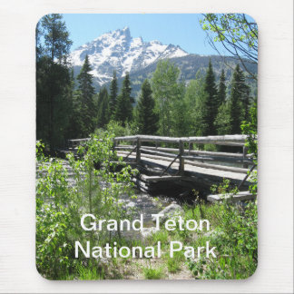 Grand Tetons Spring Snow and Wood Bridge Mouse Pad