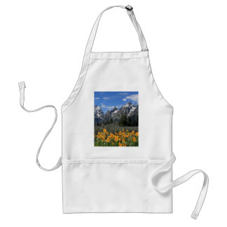Grand Tetons with Yellow Flowers Aprons