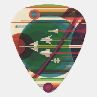 Grand Tour - Retro NASA Travel Poster Guitar Pick