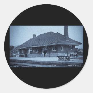 Grand Trunk Depot Pontiac Michigan (Cyan) Round Sticker