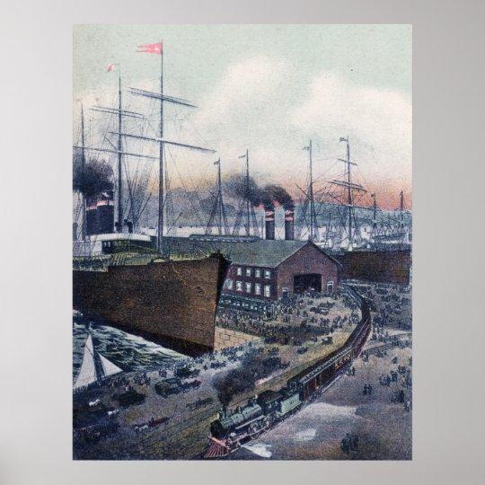 Grand Trunk Ry Portland, Maine Steamship Wharf Poster