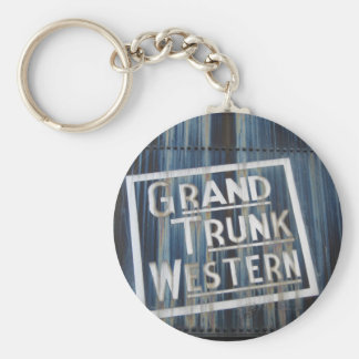 Grand Trunk Western Railroad Steam Engine Basic Round Button Key Ring