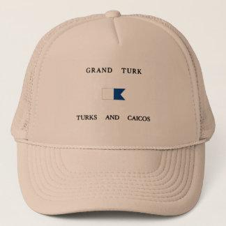 Grand Turk Turks and Caicos Alpha Dive Flag Trucker Hat