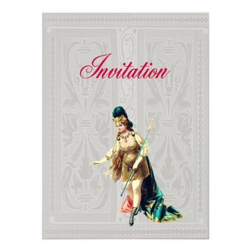 Grand Woman Warrior - Vintage Illustration Custom Invitation
