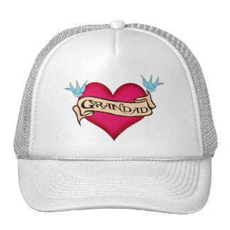 Grandad - Custom Heart Tattoo T-shirts Gifts Mesh Hat