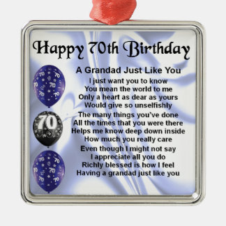 grandad poem - 70th Birthday Silver-Colored Square Decoration