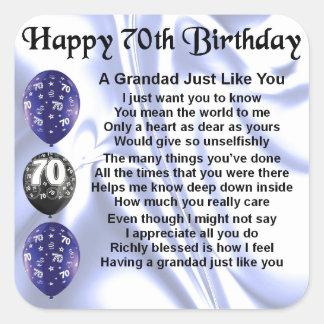 grandad poem - 70th Birthday Square Sticker