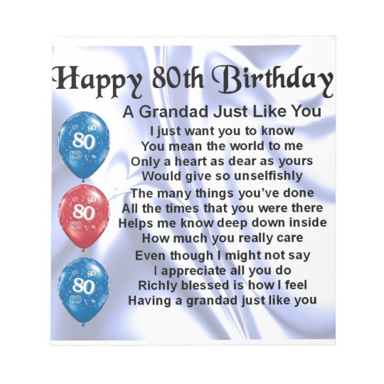 Grandad poem - 80th Birthday Design Notepad