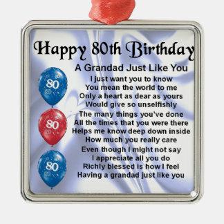 Grandad poem - 80th Birthday Design Silver-Colored Square Decoration